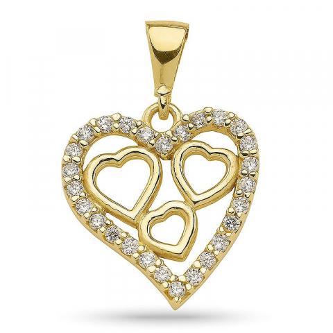 Moderne hjerte vedhæng i forgyldt sølv