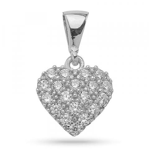 Klassisk hjerte vedhæng i sølv