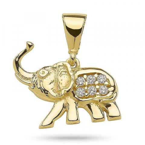Sødt elefant zirkon vedhæng i forgyldt sølv