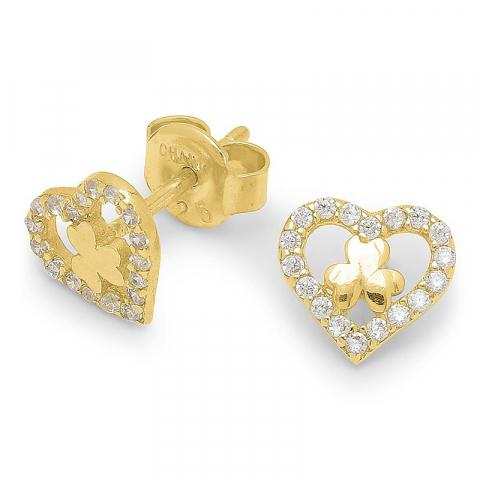 Hjerte firkløver øreringe i forgyldt sølv