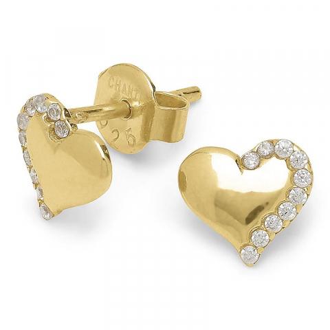 Blanke hjerte zirkon ørestikker i forgyldt sølv