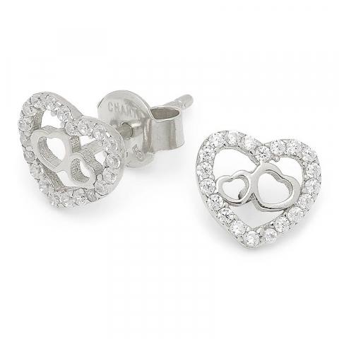 Flade hjerte ørering i sølv
