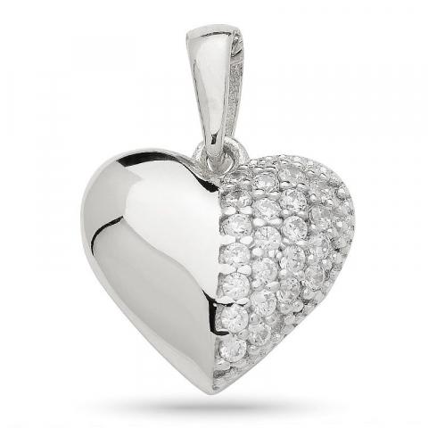 Moderne hjerte vedhæng i sølv