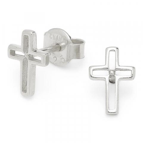 Små kors sølvørestikker i sølv
