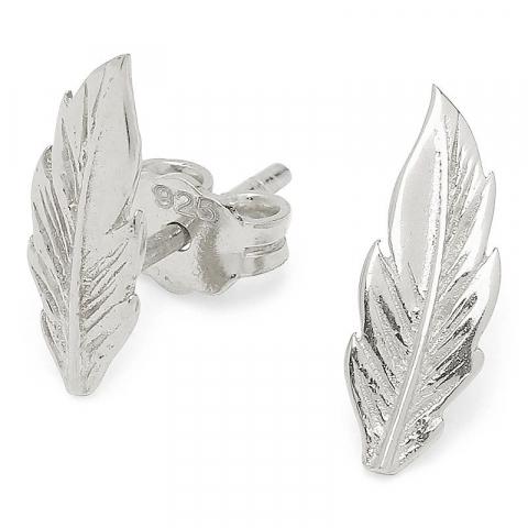 Fine fjer sølvøreringe i sølv