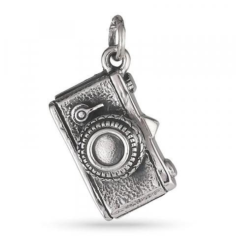 Stort kamera vedhæng i sølv