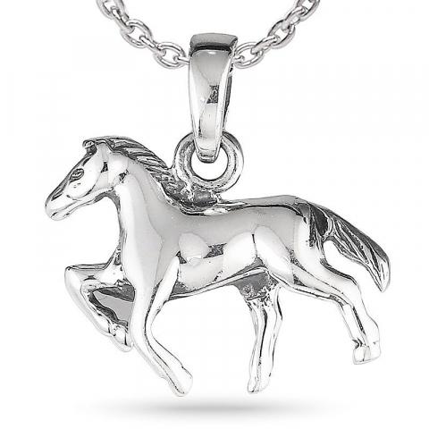 Heste halskæde i sølv med vedhæng i sølv
