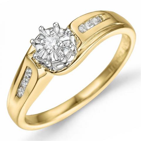 blomster diamant ring i 9 karat guld.- og hvidguld 0,04 ct 0,06 ct