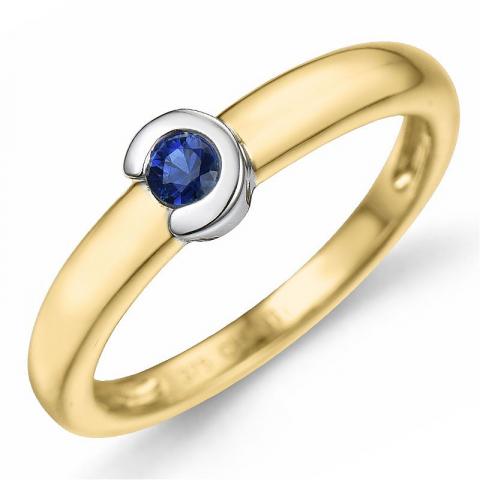 rund safir ring i 9 karat guld.- og hvidguld 0,14 ct