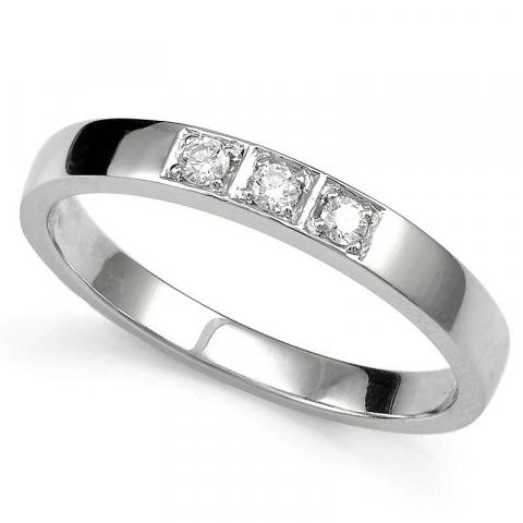 Fin diamant alliancering i 9 karat hvidguld 0,09 ct