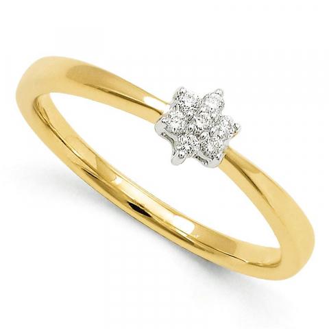 Pæn blomster diamantring i 9 karat guld.- og hvidguld 0,06 ct