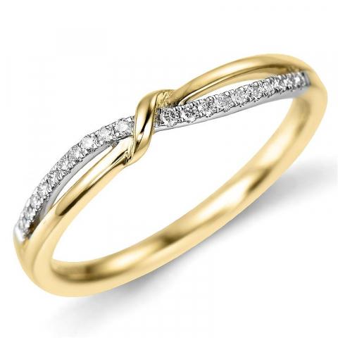 Enkel diamantring i 9 karat guld.- og hvidguld 0,10 ct