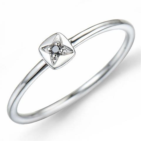 Sort diamant ring i 9 karat hvidguld 0,01 ct