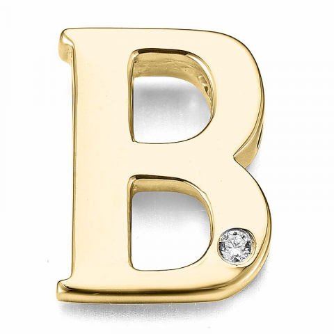 Bogstav b diamant vedhæng i 9 karat guld 0,01 ct