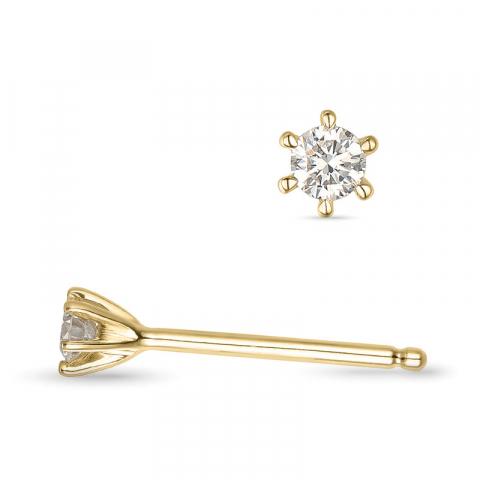 2 x 0,05 ct Kampagne - diamant ørestikker i 14 karat guld med diamant