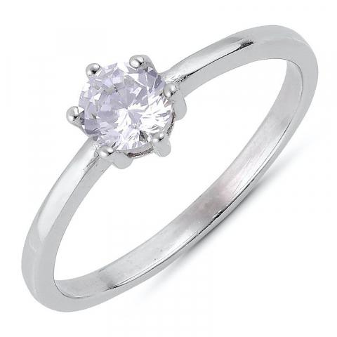 Billig zirkon ring i sølv