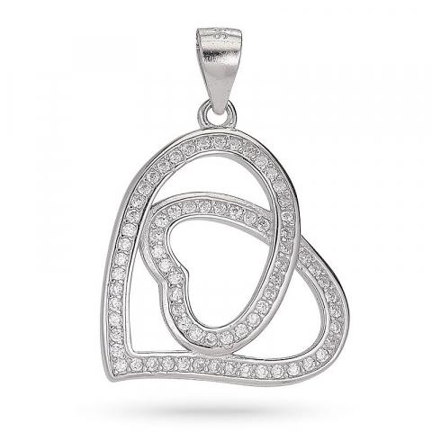Kollektionsprøve hjerte zirkon vedhæng i sølv