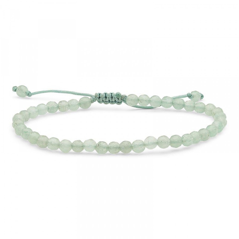 Smuk grøn aventurin armbånd i silke snor 17 cm plua 3 cm x 4,1 mm