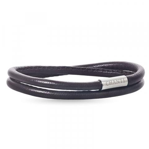 Rund brun læder armbånd i stål  x 4 mm