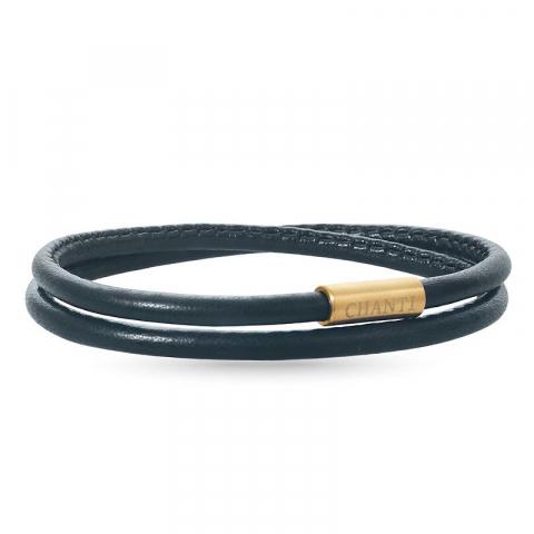 Rund sort armbånd i læder med forgyldt stål lås  x 4 mm