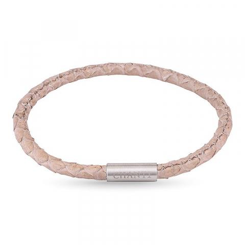 Rund beige slangearmbånd i læder med stål lås  x 4 mm