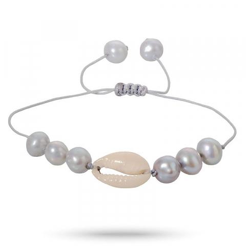 Pæn perle shell musling armbånd i silke snor 17 cm plus 5 cm  x 10 mm