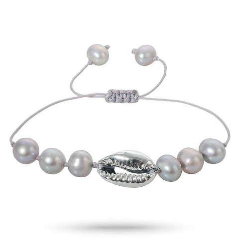 Smart perle shell musling armbånd i silke snor 17 cm plus 5 cm x 10 mm