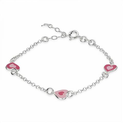 Flot hjerte armbånd i sølv med hjertevedhæng i sølv