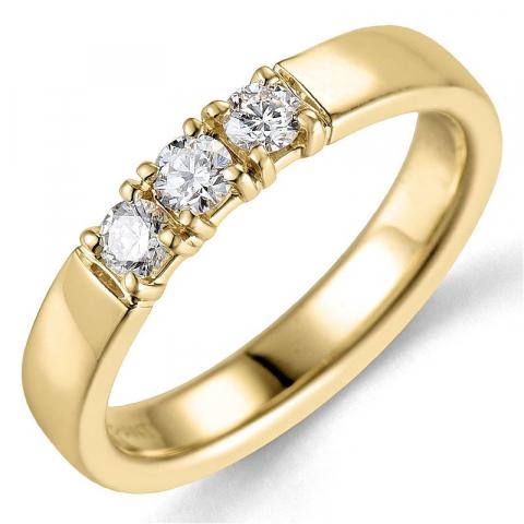 diamant alliancering i 14 karat guld 3 x 0,10 ct