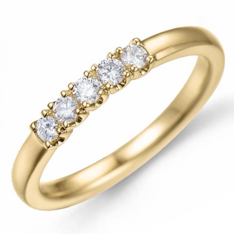 Diamant alliancering i 14 karat guld 0,21 ct