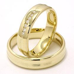 Vielsesringe i 14 karat guld 0,013 ct - sæt