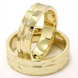Vielsesringe i 14 karat guld 0,03 ct - sæt