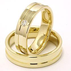 Vielsesringe i 14 karat guld 0,07 ct - sæt