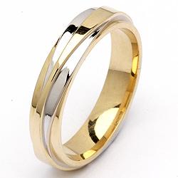 Special tofarvet vielsesring i 14 karat guld.- og hvidguld