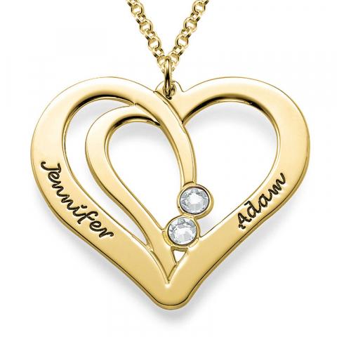 Hjerte navnehalskæde i forgyldt sølv med 2 hvide zirkoner