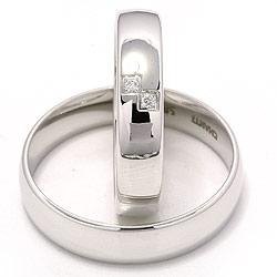 Smukke ovale vielsesringe i 14 karat hvidguld 2 x 0,02 ct - sæt