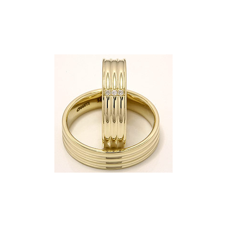 Vielsesringe i 14 karat guld 0,024 ct - sæt