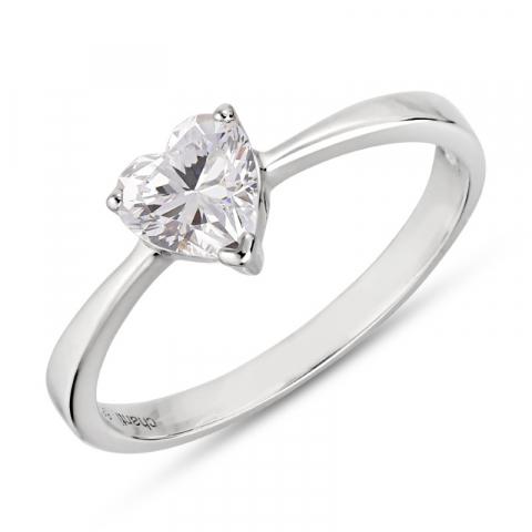 fin hjerte ring i rhodineret sølv