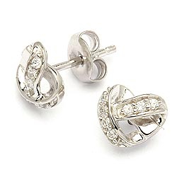 Hjerte ørestikker i rhodineret sølv
