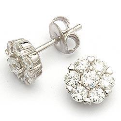 Runde zirkon øreringe i sølv