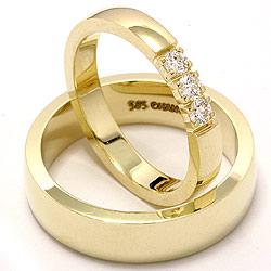 Eksklusive vielsesringe i 14 karat guld 3 x 0,07 ct - sæt
