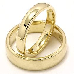 Blanke ovale vielsesringe i 14 karat guld - sæt