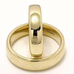Glatte ovale vielsesringe i 14 karat guld - sæt