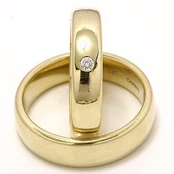 Vielsesringe i 14 karat guld 0,05 ct - sæt