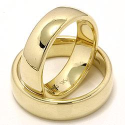 Brede ovale vielsesringe i 14 karat guld - sæt