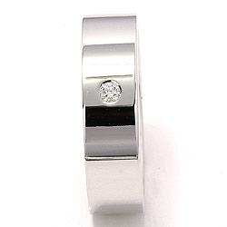 Bred flad diamant vielsesring i 14 karat hvidguld 0,05 ct
