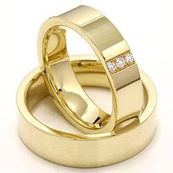 Vielsesringe i 14 karat guld 0,018 ct - sæt