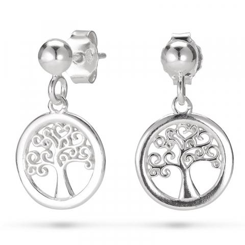 rund livets træ øreringe i sølv