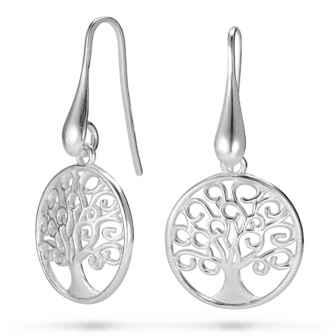 lange livets træ øreringe i sølv
