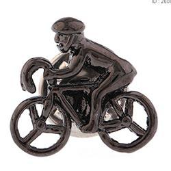 Store cykelrytter ørering i sort stål